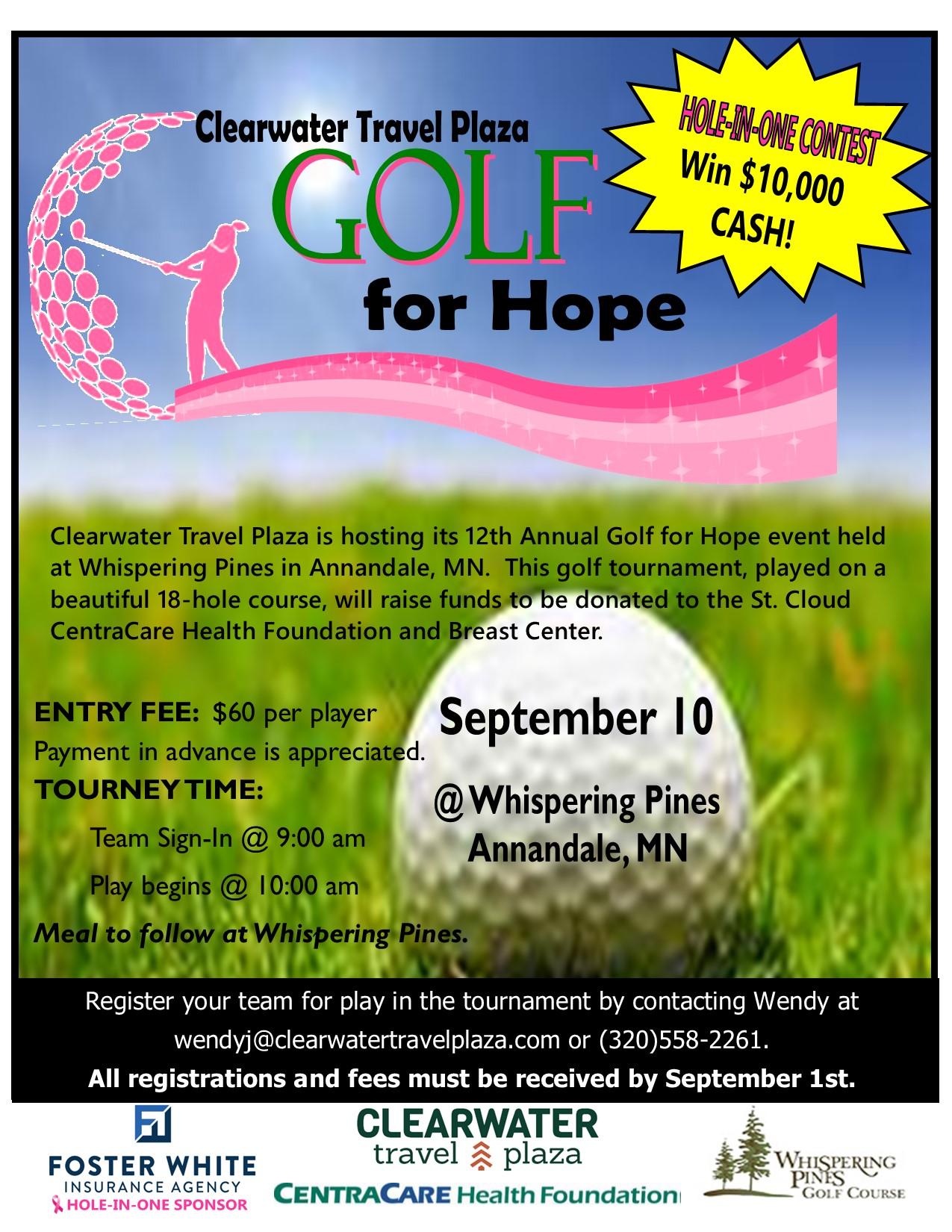 2021 Golf for Hope flyer