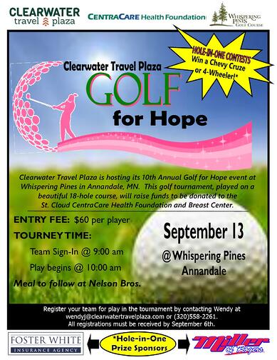 2019 Golf for Hope Flyer with starburst